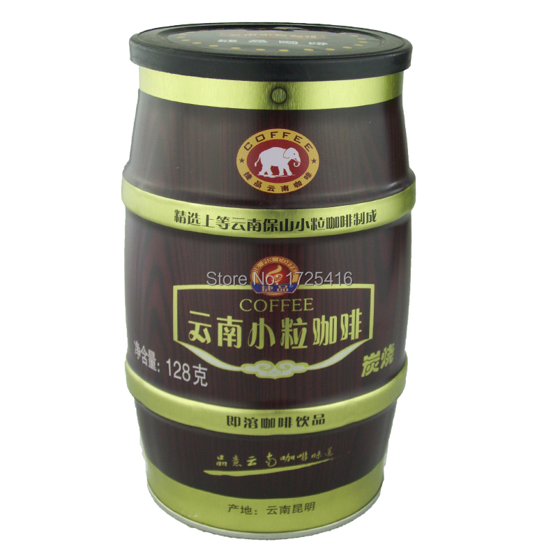 2015 new triple Yunnan arabica coffee charcoal flavor instant 128 g canned free shipping