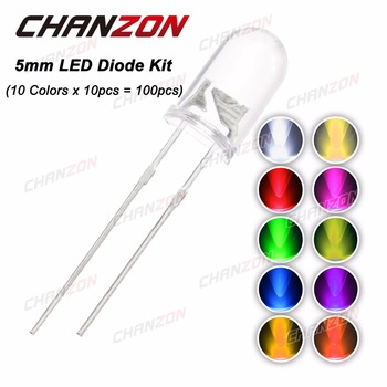 CHANZON 100pcs (10 colors x 10pcs) 5mm LED Diode 5 mm 3V Assorted Kit Warm White Green Red Blue UV DIY Light Emitting Diode 20mA