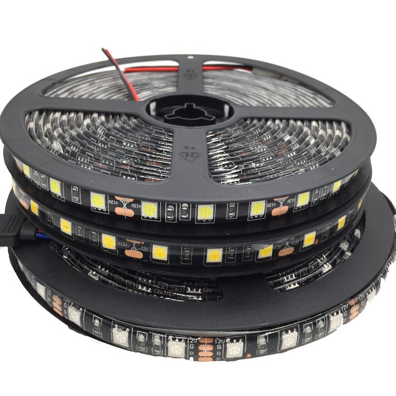5050 Black PCB LED Strip IP65 Waterproof DC12V 60LED/m 5m/lot LED light LED Light White / Warm White / Red / Green / Blue / RGB(China (Mainland))