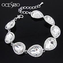 2016 New Silver Crystal Wedding Bracelet Luxury Crystal Chain Link Bridal Bracelet Women Bracelet evening dress black brt-j71(China (Mainland))