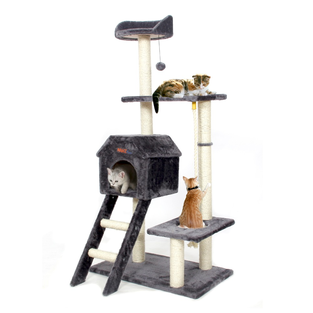 Domestic Delivery Cat Jumping Toy with Ladder Scratching Wood Climbing Tree for Cat Climbing Frame Cat Furniture Scratching Post(China (Mainland))