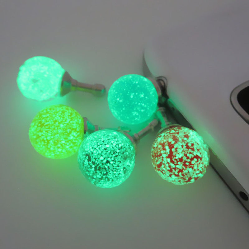 1PC Colurful Round Rhinestone Luminous Dust Plug Mobile Phone 3.5mm Earphone Jack Anti Dust Plug Universal Headphone Dust Cap(China (Mainland))