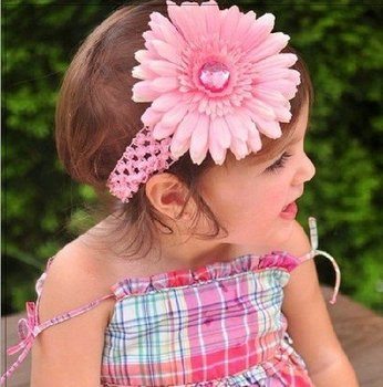Crochet Headbands/girls hairhoop/Gerbera Daisy Flowers/Baby Hair Bows with Alligator Grip /free shipping by DHL