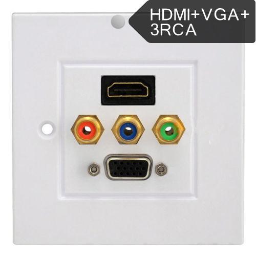 Lotus audio and video multimedia set-top box panel VGA RCA audio HDMI HD Free solder wall outlet(China (Mainland))