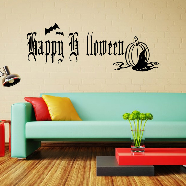New Halloween Wallpaper Creative Home Decor Happy Halloween PVC Removable Home Decals Halloween Wall Sticker