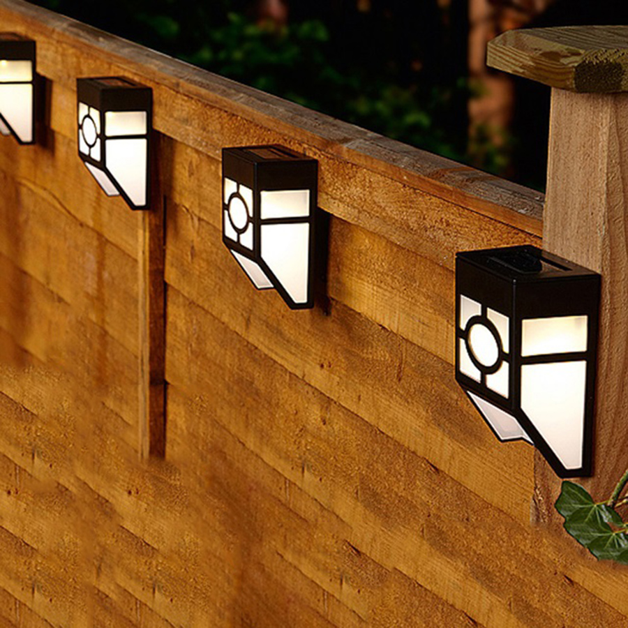 solar powered mount led wall light outdoor garden path. Black Bedroom Furniture Sets. Home Design Ideas