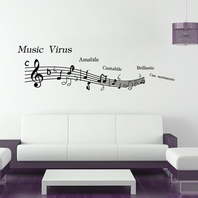 Большой размер 148 * 42 см музыка стены спальня декор музыку к сведению съемный на стены обои