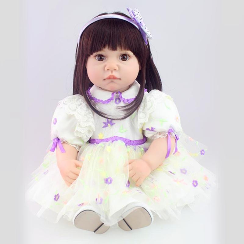 22 inch High end Silicone Vinyl Reborn Baby Doll Toys Kids Child Birthday Christmas Gifts Lifelike Toddler Princess Girl Dolls(China (Mainland))