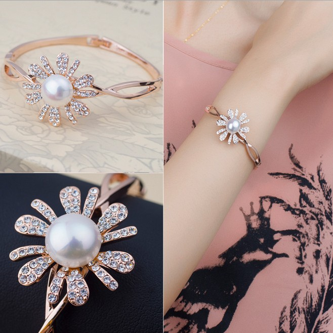 11-12mm Big Pearl&Fashion Rhinestones Flower Bangle Cultured Pearl Bracelet Rose Gold Plated Pearl Bangle For Women Pearl Gifts(China (Mainland))