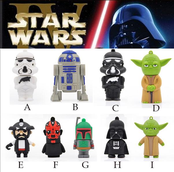 New Star Wars Cartoon model 4GB 8GB 16GB 32GB 100% Real USB Flash drive memory stick Soldier YODA R2D2 Darth Maul Darth Vader(China (Mainland))