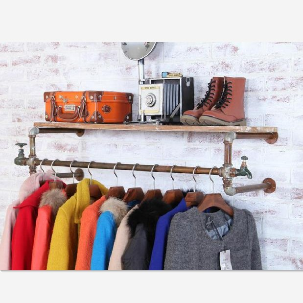 Happy happy American Iron wood pipe wall hangers clothing rack coat rack shelf to do the old Shoe(China (Mainland))