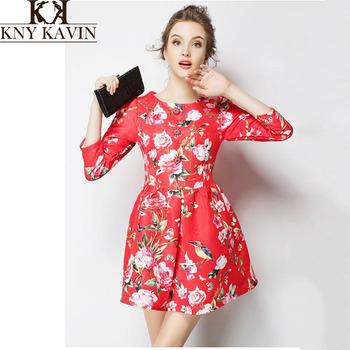 Бесплатная доставка 2014 осень новое поступление женщин цветочные красный цвет старинные элегантный империя три четверти WD2046