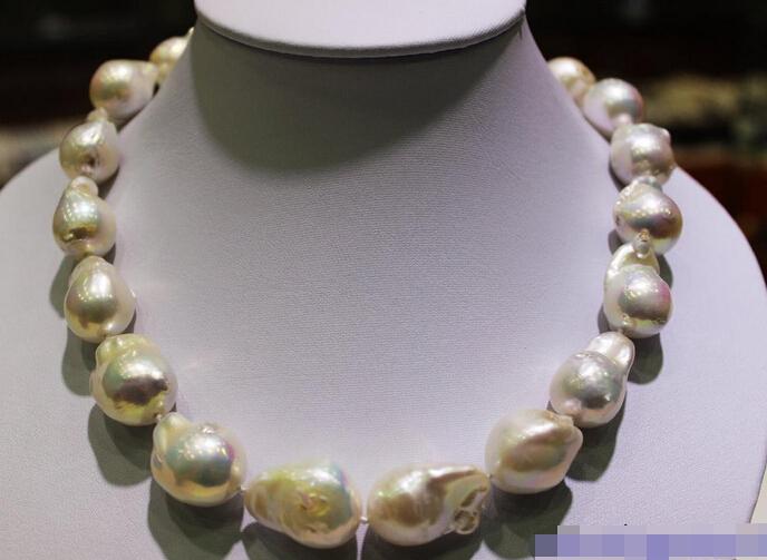 xiuli 003522 White Beautiful keshi pearl necklace 16x18mm-18x23mm17.5INCH handmade Alloy<br><br>Aliexpress