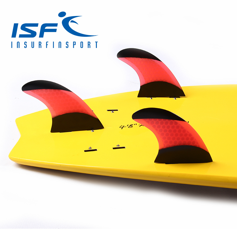 Red FCS surfboard fins quilhas prancha de Honeycomb fins surf fin with black paint(China (Mainland))