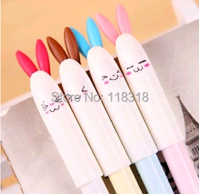 Гаджет  Min Order is $5,(1 Lot =4 Different Pcs) Cute Rabbit Colored Gel Pens Korean School Supplies Kawaii Canetas Stationery Ink Pen None Офисные и Школьные принадлежности