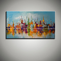 Large beautilful landscape Abstract modern wall city painting Knife oil painting reproduction canvas for living room