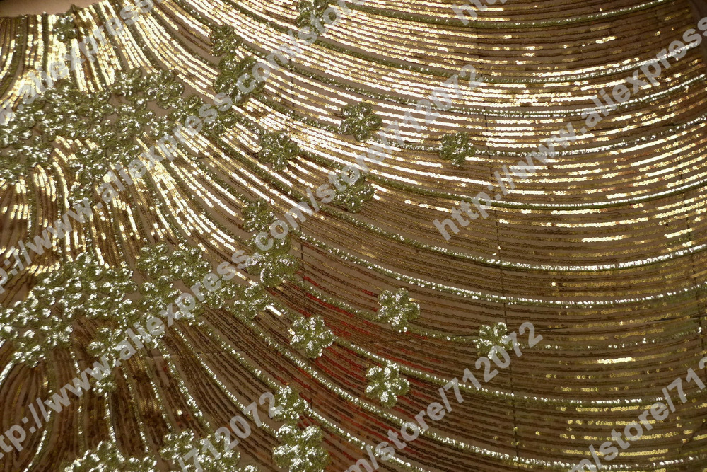 Buy gold sequins on black embroidered for Cloth for sale by the yard