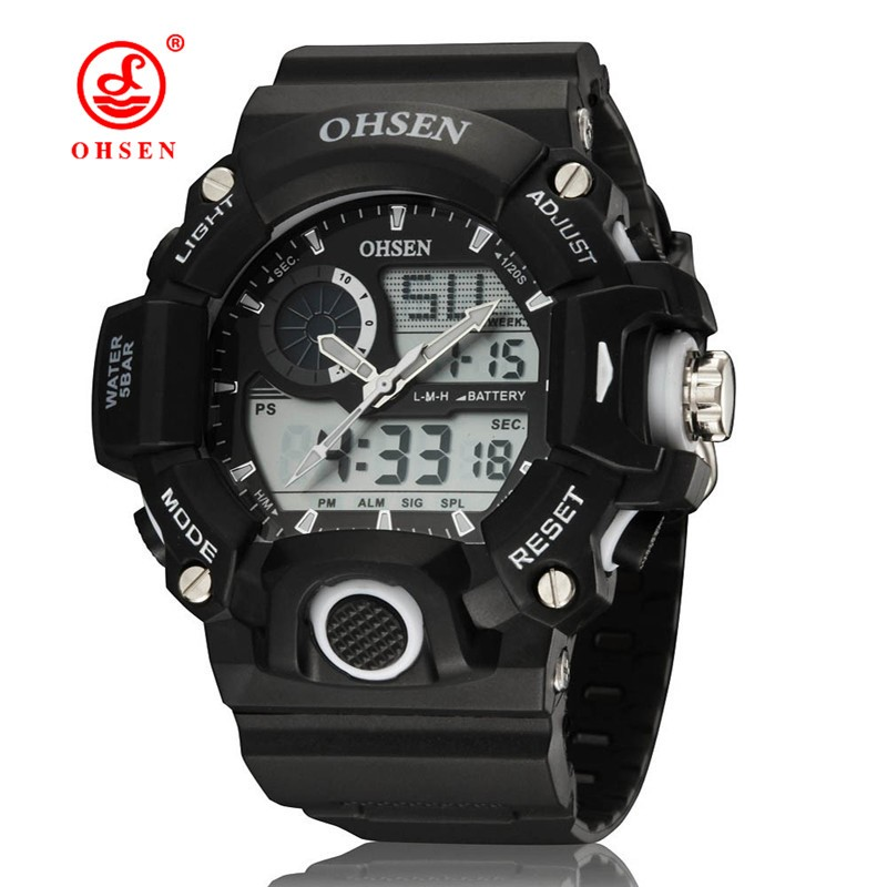 2015 Brand New OHSEN Hot Sale New Quality Guranteed 2808 Digital Watches Double Movement Wristwatch Waterproof Watches For Men(China (Mainland))