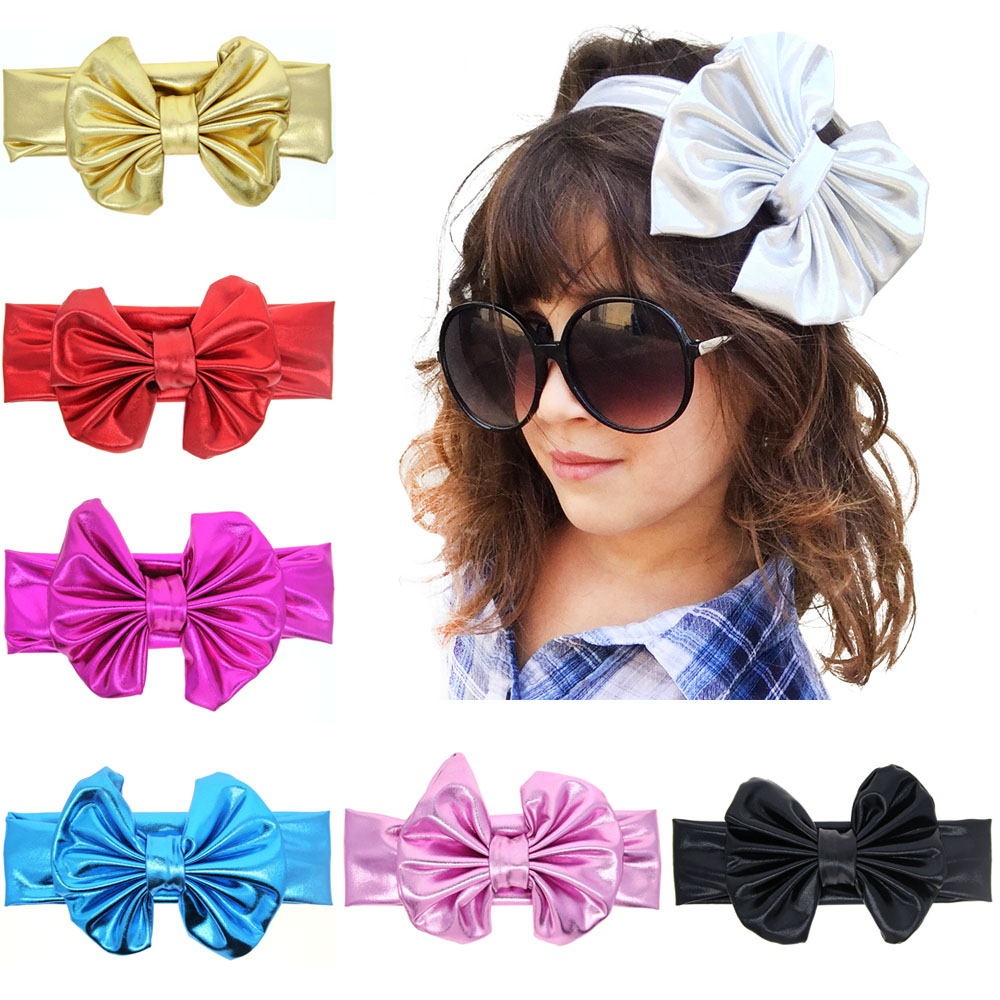 Baby Cool Shining Bow Knot Elasticity Headband Children Girls Baby Hair Accessories KT006(China (Mainland))