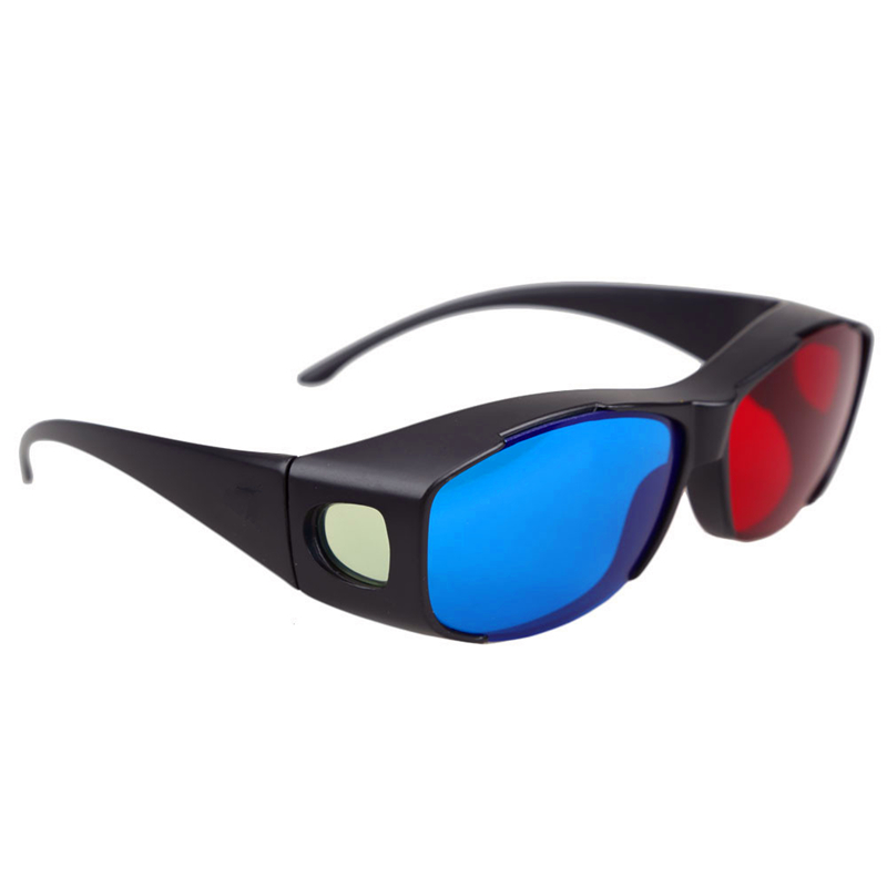 New Black Frame Red Blue Anaglyph Framed 3D Vision Glasses for Plasma TV Movie Dimensional Dimensional Anaglyph Movie Game DVD(China (Mainland))