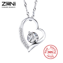 Zeni Heart Necklace Women Fashion Charms 925 Sterling Silver Jewelry Necklaces & Pendants for Women 2016 Love at First Sight(China (Mainland))