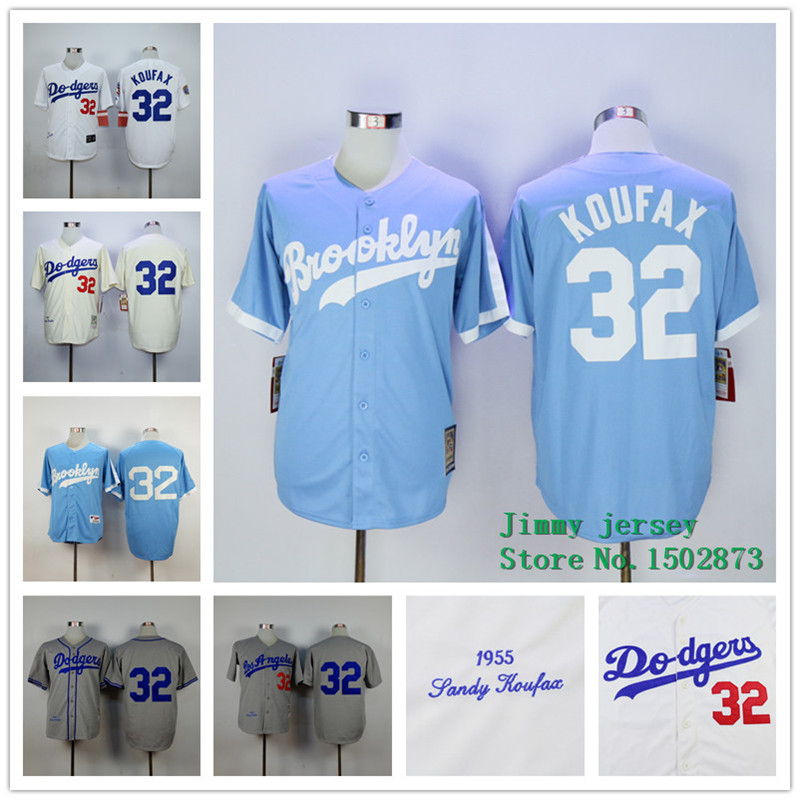 2015 Men Los Angeles Dodgers 32 Sandy Koufax Baseball Jersey  Embroidery Stitched Shirt Green Gray White