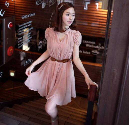 Free Shipping Korean Slim Fashion Women Summer Dresses Princess Fold Puff Sleeve V-Neck Sweet Waist Chiffon Dress Bandage Dress(China (Mainland))