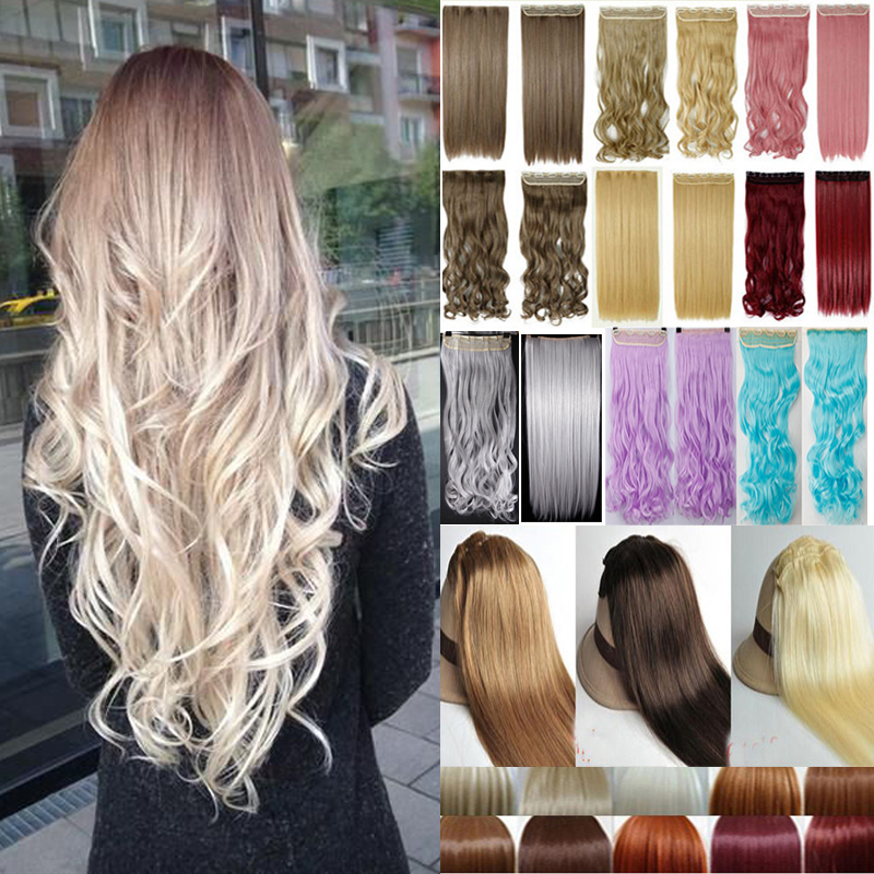 Long Curly Clip In Hair Extensions 24 inch 60cm One Piece Blonde Brown Black Red Colorful Hair Synthetic Hair(China (Mainland))