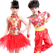 Buy Red Chinese New Year Folk Dance Costume Child Jazz Dance Costume Girl National Stage Performance Clothing Boy Kungfu Suit Set 89 for $19.99 in AliExpress store