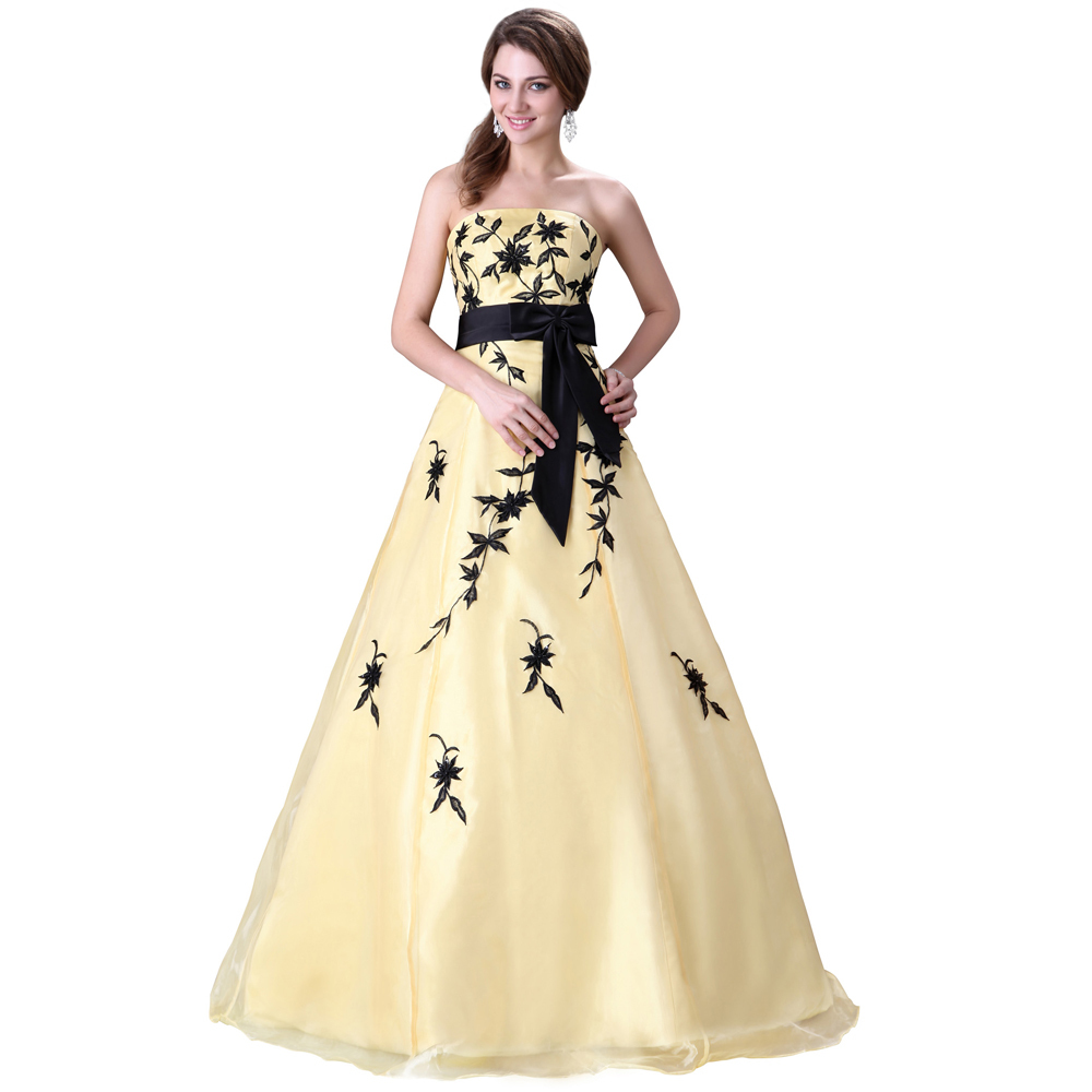 buy hot sale strapless appliques yellow