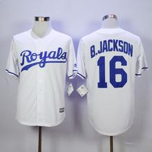 Bo jackson royals jersey authentic #16 Bo Jackson jerseys throwback blue white color size all men's Kansas City Royals Jersey(China (Mainland))