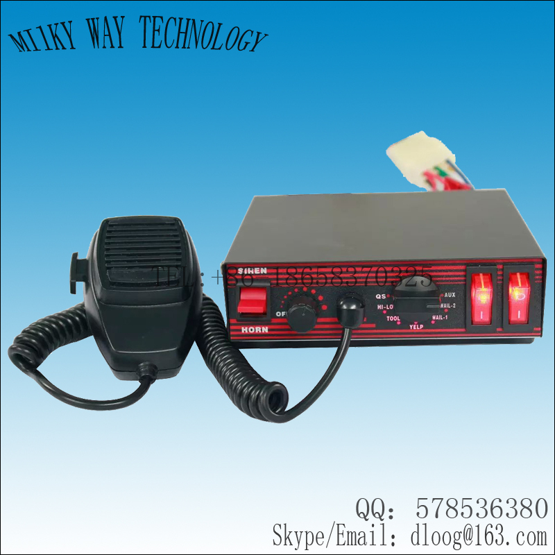 Free shipping! CJB-200E 200W Power Police Car Siren, DC12V Emergency vehicles, with Microphone/2 light switches ,without speaker(China (Mainland))