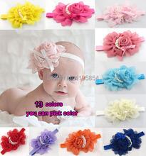 Free shipping Sweet Infants Toddlers Baby Girls Chiffon Pearl Rose Flower Headband Hairband Lovely Hair Decors Headwear Hairclip(China (Mainland))