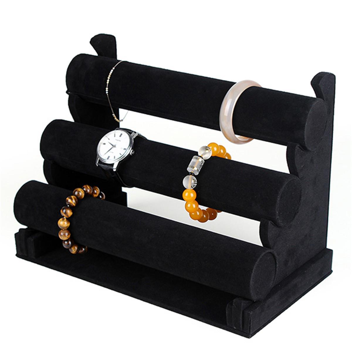 2016 Black Velvet 3 Tier Bangle Bracelet Chain Watch Jewellery Display Stand Tray Assembled Organizer Hard Case Holder(China (Mainland))