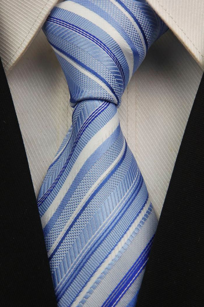 NT0023 White Blue Stripe Smooth Fashion Jacquard Woven Classic Silk Polyester Man s Business Wedding Tie