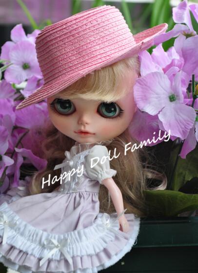 Blyth doll straw hat, Blyth cap, suitable for Blyth, pullip, Tangkou doll, 1/6 doll, flat edge, pink(China (Mainland))