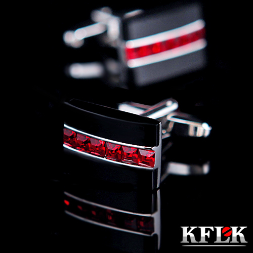 KFLK - high quality trendy round red Crystal +Black Onyx cufflinks for men - Electroplating process-Made in China<br><br>Aliexpress