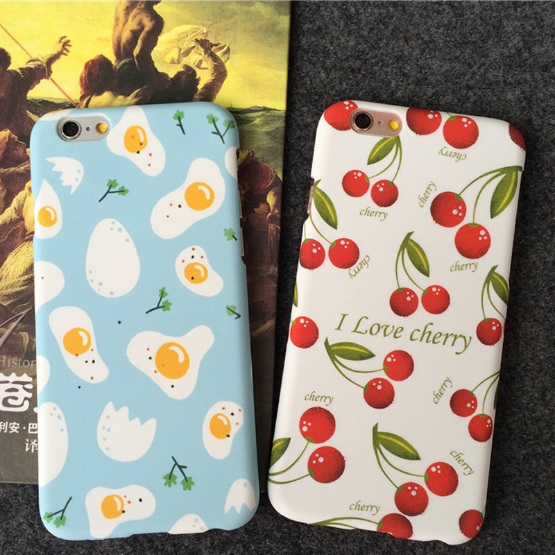 3D Cartoon Printed Fashion Fired Egg Funda For iphone 6 6s Plus 5 5S 5SE Coque Hard PC poached Cherry Mobile Phone Bags & Cases(China (Mainland))