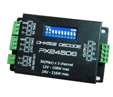 DMX led controller PX24506 DMX 512 Decoder Driver 9A DMX 512 Amplifier 12V 108W 24V RGB LED Lights(China (Mainland))