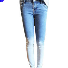 Boyfriend Jeans For Women 2015 New Fashion Gradient Skinny Womens Jeans Slim Pencil Pants Denim Jeans Boots Pants Trousers Cheap