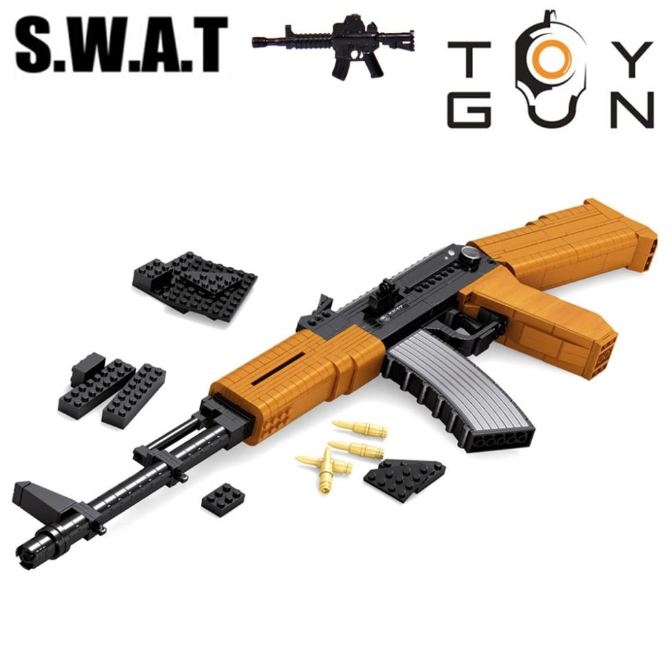 AUSINI AK-47 Submachine Assault Rifle GUN Weapon Arms Model 3D DIY Building Blocks Bricks Children Toys Gifts