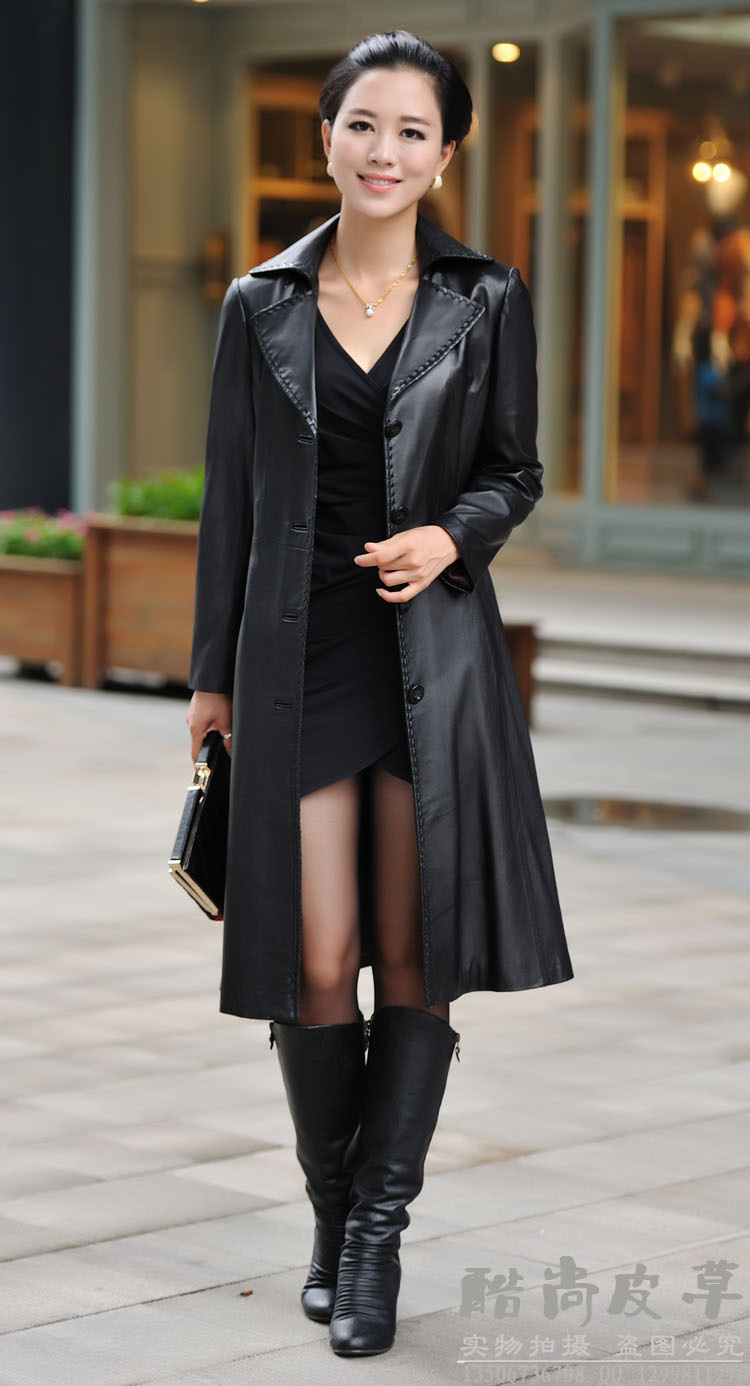 Haining genuine leather coat leather trench coat Long Slim sheep Phi font b clothing b font