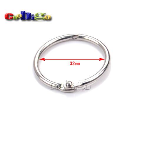 """100pcs 1-1/4""""(32mm) Inner Dia. Loose Leaf Book Binder Hinge Snap Metal Locking Ring #FLQ075-32(China (Mainland))"""
