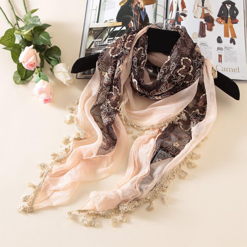 Scarf Brand Woman Fashion Scarves and Shawls Tassels Wrap Cape Poncho Design Flower Triangle Lace Crochet Cape 170*58cm(China (Mainland))