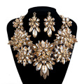 New Statement Rhinestone Jewelry sets Bridal wedding necklace earrings set Women party Jewelry Brides Champagne color crystal