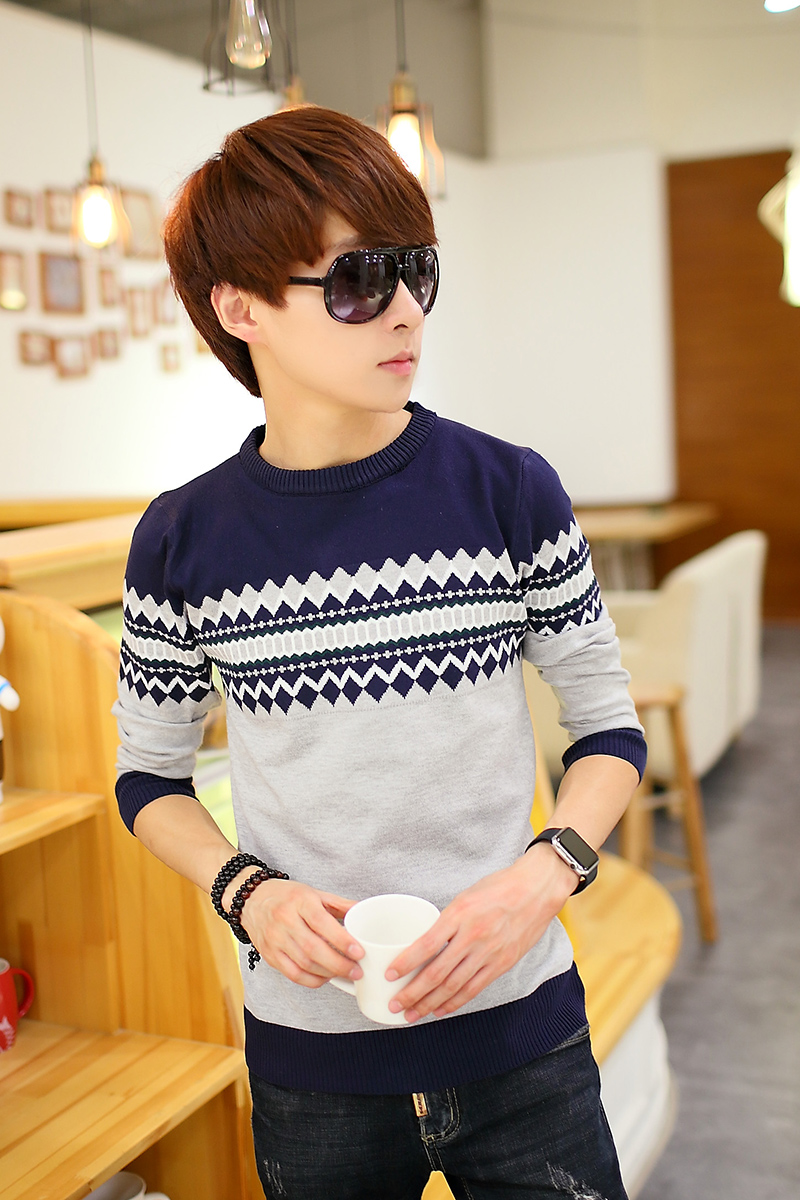 Free shipping 2015 autumn and winter men cotton long sleeved round neck sweater brand men s