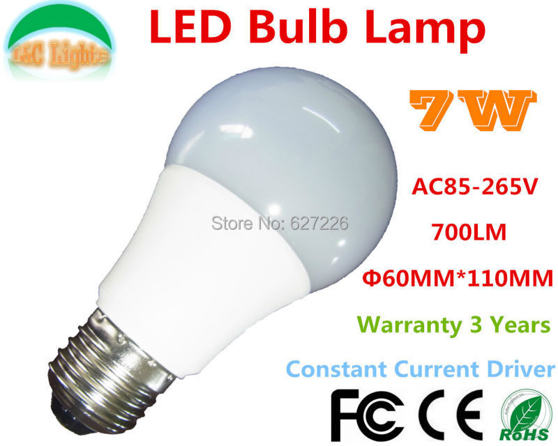Free Shipping! AC85-265V E27 PMMC shade 7W LED Bulbs,LED Home Lighting,LED Lamps Warranty 3 Years,WW/NW/CW,2PCs a lot(China (Mainland))