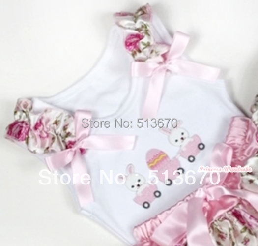 White Pettitop With Bunny Rabbit Egg Print with Light Pink Rose Fusion Ruffles & Light Pink Bow MATB284(Hong Kong)