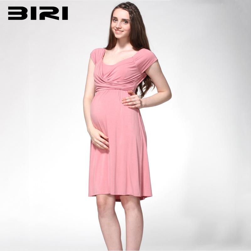 Spring And Summer Casual Round Neck Short Sleeve Comfortable Breast-Feeding Pink Maternity Dress Slim Big Yards L-2XL 7BIRI41<br><br>Aliexpress