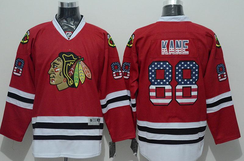 Chicago Blackhawks USA FLAG Mens Jerseys #88 Patrick Kane Red Ice Hockey Jersey3313 for sale
